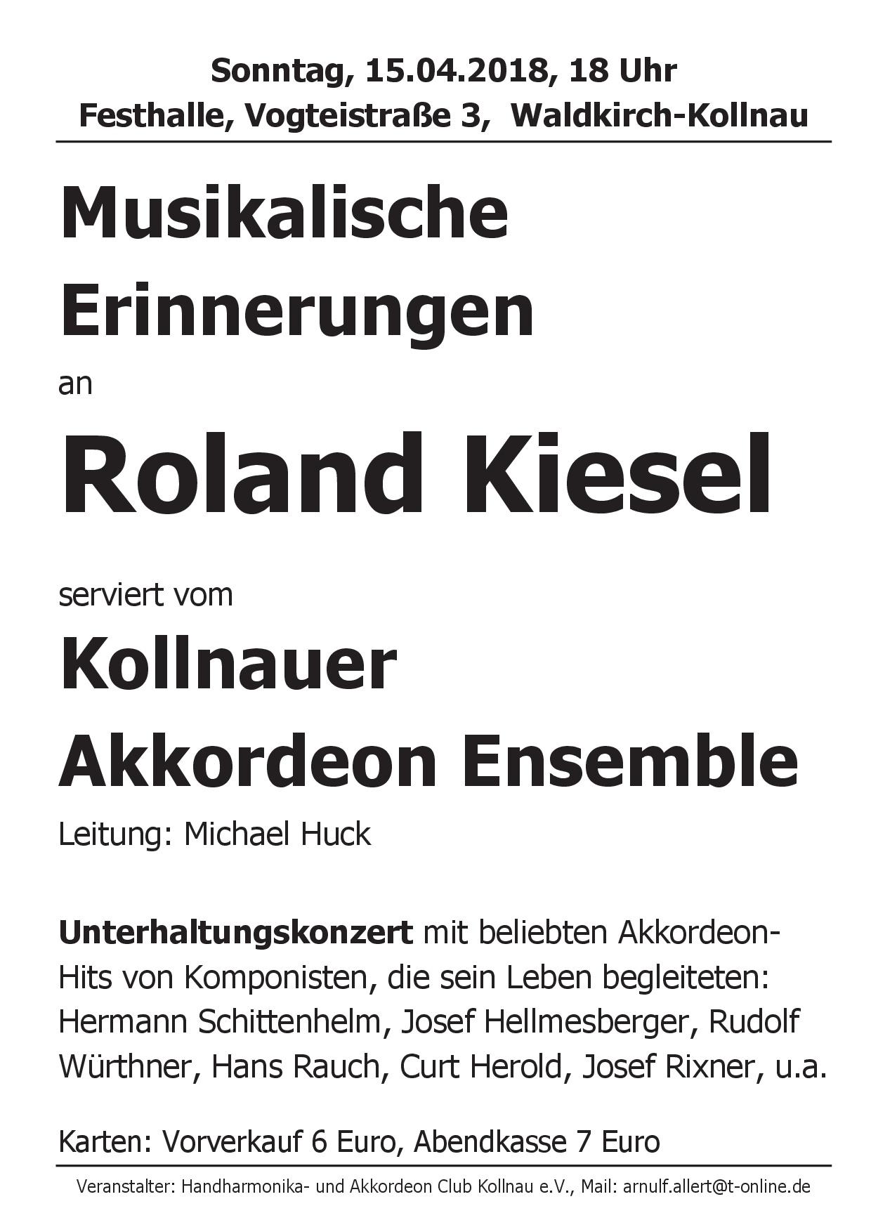 Musikalische Erinnerungen an Roland Kiesel – DHV – Bezirk Breisgau